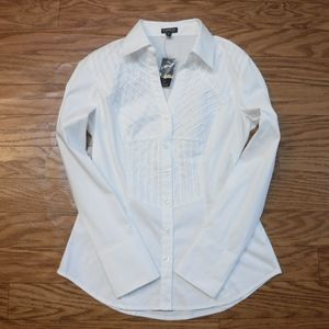 *EXPRESS Stretch White Button Up Collar Blouse*